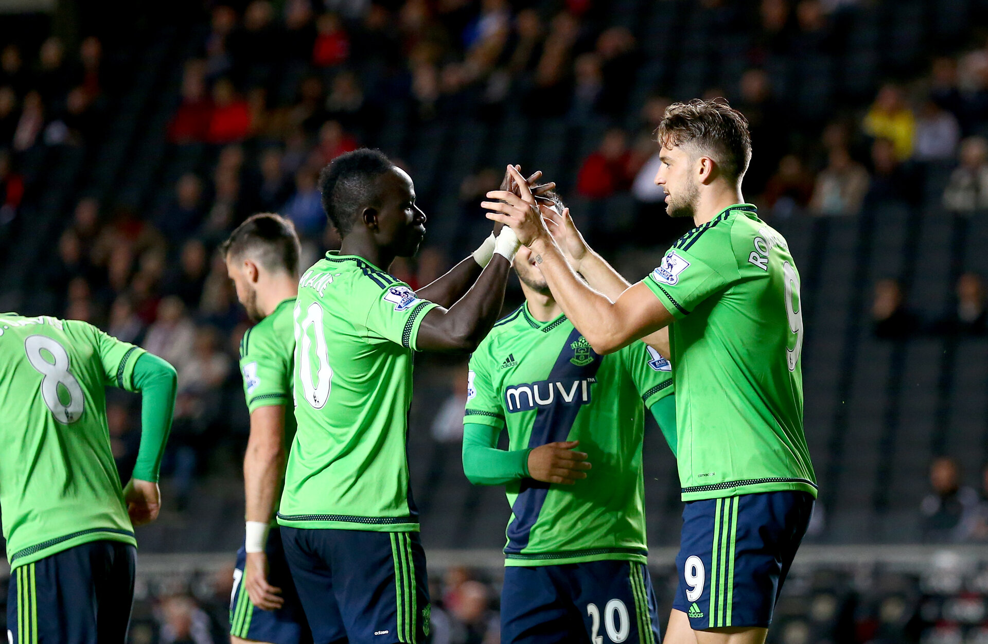 Jay rodriguez celebrates his goal during the Capital One Cup match between Milton Keynes Dons and Southampton at stadium:mk, Milton Keynes, England on 23 September 2015.