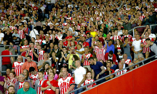 Saints fans during the UEFA Europa League match between Southampton and Sparta Prague at St Mary's Stadium, Southampton, England on 15 September 2016. Photo by Tom Bennett/SFC/Digital South.