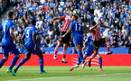 Charlie Austin heads at goal during the Premier League match between Leicester City and Southampton at the King Power Stadium, Leicester, England on 2 October 2016. Photo by Matt  Watson/SFC/Digital South.