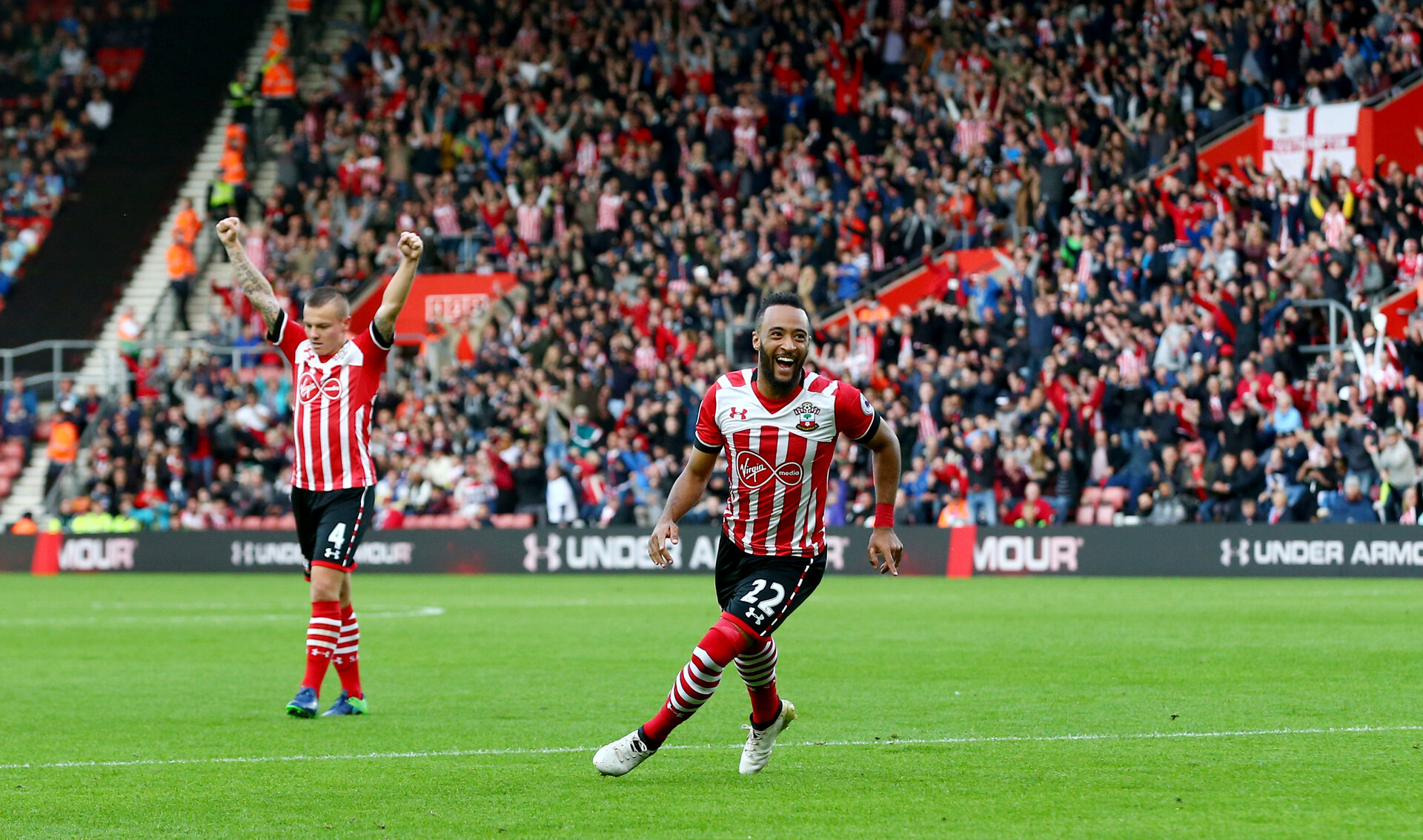 Nathan Redmond celebrates during the Premier League match between Southampton and Burnley at St Mary's Stadium, Southampton, England on 16 October 2016. Photo by Matt Watson/SFC/Digital South.