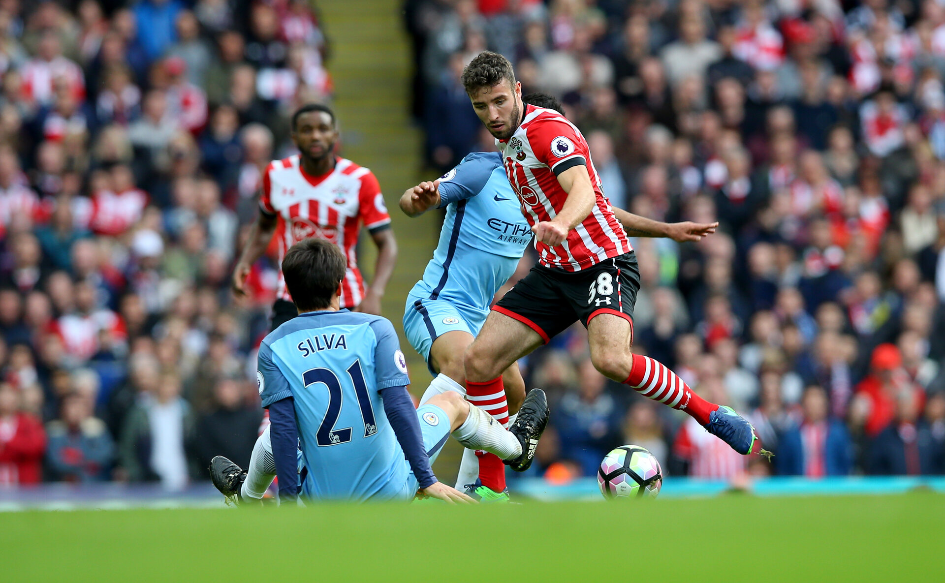 sam McQueen during the Premier League match between Manchester City and Southampton at the Etihad Stadium, Manchester, England on 23 October 2016. Photo by Matt  Watson/SFC/Digital South.
