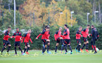 Players warm up during a Southampton FC training session at the Staplewood Campus, Southampton, 28th October 2016