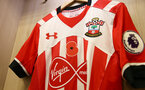 Southampton shirts featuring the remembrance Poppy during the Premier League match between Southampton and Chelsea at St Mary's Stadium, Southampton, England on 30 October 2016. Photo by Matt Watson/SFC/Digital South.