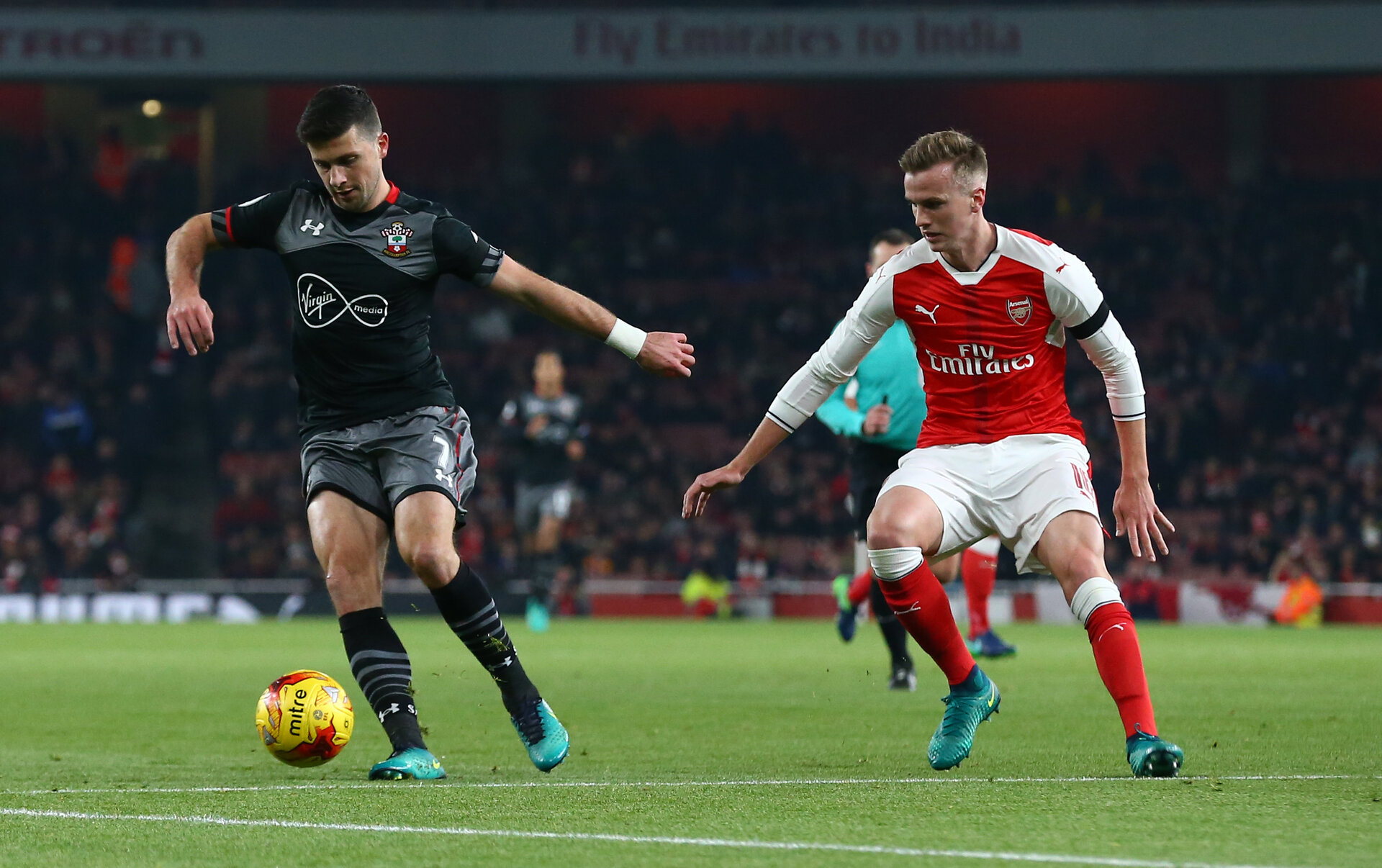 Shane Long during the EFL Cup match between Arsenal and Southampton at the Emirates Stadium, London, England on 30 November 2016. Photo by Matt  Watson/SFC/Digital South.