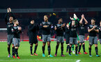Saints players celebrate during the EFL Cup match between Arsenal and Southampton at the Emirates Stadium, London, England on 30 November 2016. Photo by Matt  Watson/SFC/Digital South.