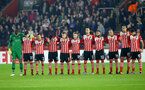 Southampton players observe a silence during the UEFA Europa League match between Southampton and Hapoel Be'er Sheva F.C. at St Mary's Stadium, Southampton, England on 8 December 2016. Photo by Matt Watson/SFC/Digital South.