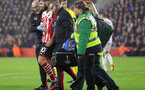 Charlie Austin (Southampton) goes off injured during the UEFA Europa League match between Southampton and Hapoel Be'er Sheva F.C. at St Mary's Stadium, Southampton, England on 8 December 2016. Photo by Michael Jones/Digital South