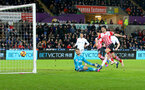 Shane Long scores during the Premier League match between Swansea City and Southampton at the Liberty Stadium, Swansea, Wales on 31 January 2017. Photo by Matt Watson/SFC/Digital South.