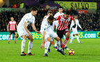Sofiane Boufal is brought down in the box but is booked for diving during the Premier League match between Swansea City and Southampton at the Liberty Stadium, Swansea, Wales on 31 January 2017. Photo by Matt Watson/SFC/Digital South.
