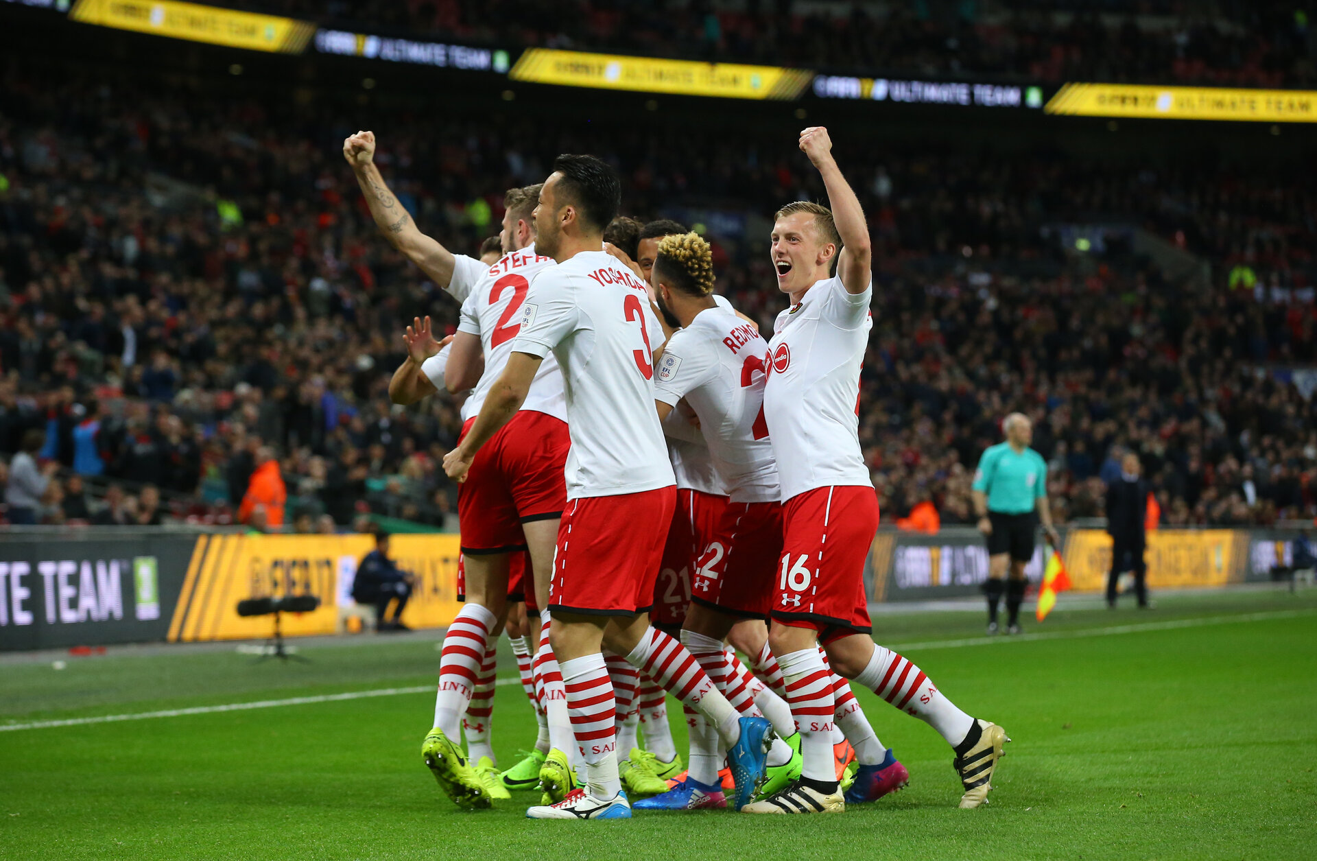 Saints players celebrate during the EFL Cup Final match between Manchester United and Southampton at Wembley Stadium, London, England on 26 February 2017. Photo by Matt Watson/SFC/Digital South.