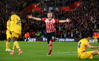 James Ward-Prowse celebrates putting Saints 3-1 up during the Premier League match between Southampton and Crystal Palace at St Mary's Stadium, Southampton, England on 5 April 2017. Photo by Matt Watson/SFC/Digital South.