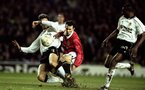 8 Dec 1999:  Ryan Giggs of Manchester United is challenged by Mauricio Pellegrino of Valencia during the Champions League game at Old Trafford, Manchester, England. Manchester United won 3 - 0. \ Mandatory Credit: Clive Brunskill /Allsport
