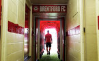 In the tunnel during the pre-season friendly between Brentford FC(red/white) and Southampton FC(black), at Griffin Park Stadium, Brentford, London, 22nd July 2017