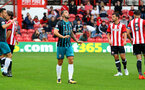 Charlie Austin after going close during the pre-season friendly between Brentford FC(red/white) and Southampton FC(black), at Griffin Park Stadium, Brentford, London, 22nd July 2017