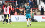 Shane Long during the pre-season friendly between Brentford FC(red/white) and Southampton FC(black), at Griffin Park Stadium, Brentford, London, 22nd July 2017