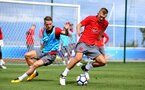 Steven Davis(left) James ward-Prowse during a Southampton FC pre-season training session, in Evian, France, 25th July 2017