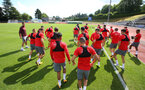 Players warm up during a Southampton FC pre-season training session, in Evian, France, 26th July 2017