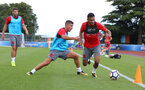 Jeremy Pied(left) and Sofiane Boufal during a Southampton FC pre-season training session, in Evian, France, 26th July 2017