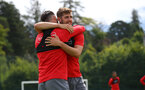 Jack Stephens and Charlie Austin during a Southampton FC pre-season training session, in Evian, France, 27th July 2017