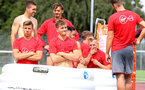 Players in the ice baths during a Southampton FC pre-season training session, in Evian, France, 27th July 2017