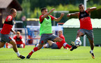 Dusan Tadic(left) and Ryan Bertrand during a Southampton FC pre-season training session, in Evian, France, 28th July 2017