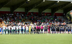 The teams lineup during a pre season friendly between St Etienne(white) and Southampton FC(black), at The Stade Municipal de Chambéry, France, 29th July 2017