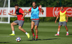 Sam McQueen and Dusan Tadic during a Southampton FC pre season training session at the Staplewood Campus, Southampton, 31st July 2017