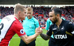 SOUTHAMPTON, ENGLAND - AUGUST 12: captains Steven Davis(left) and Leon Britten during the Premier League match between Southampton and Swansea City at St Mary's Stadium on August 12, 2017 in Southampton, England. (Photo by Matt Watson/Southampton FC via Getty Images)