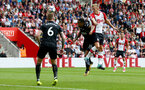 SOUTHAMPTON, ENGLAND - AUGUST 12: Southampton's James Ward-Prowse(right) heads at goal during the Premier League match between Southampton and Swansea City at St Mary's Stadium on August 12, 2017 in Southampton, England. (Photo by Matt Watson/Southampton FC via Getty Images)