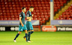 WALSALL, ENGLAND - SEPTEMBER 11: Alfie Jones(left) and Jan Bednarek during the Premier League 2 match between Aston Villa and Southampton, at Banks' Stadium on September 11, 2017 in Walsall, England. (Photo by Matt Watson/Southampton FC via Getty Images)