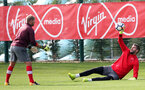 SOUTHAMPTON, ENGLAND - SEPTEMBER 19: Fraser Forster(right) and Goalkeeping Coach Dave Watson during a Southampton FC training session at the Staplewood Campus on September 19, 2017 in Southampton, England. (Photo by Matt Watson/Southampton FC via Getty Images)