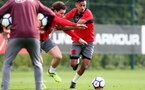 SOUTHAMPTON, ENGLAND - SEPTEMBER 19:Pierre-Emile Hojbjerg(left) and Sofiane Boufal during a Southampton FC training session at the Staplewood Campus on September 19, 2017 in Southampton, England. (Photo by Matt Watson/Southampton FC via Getty Images)