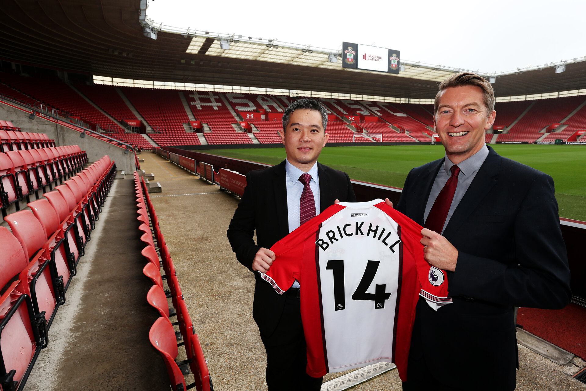 CEO of Brickhill Capital Guoxian Chen, left, and Southampton FC's commercial director David Thomas. Southampton FC announce a new partnership with Brickhill Capital. Pictured at St Mary's Stadium, Southampton.                Picture: Chris Moorhouse 07932 522561           Thursday 21st September 2017