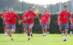 SOUTHAMPTON, ENGLAND - SEPTEMBER 28: L to R, Matt Targett, Charlie AUstin and Maya Yoshida during a Southampton FC training session at the Staplewood Campus on September 28, 2017 in Southampton, England. (Photo by Matt Watson/Southampton FC via Getty Images)