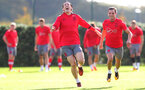 SOUTHAMPTON, ENGLAND - SEPTEMBER 28: Pierre-Emile Hojbjerg(left) and Cedric during a Southampton FC training session at the Staplewood Campus on September 28, 2017 in Southampton, England. (Photo by Matt Watson/Southampton FC via Getty Images)