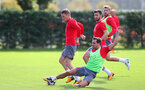 SOUTHAMPTON, ENGLAND - SEPTEMBER 28: Steven Davis(left) and Cedric during a Southampton FC training session at the Staplewood Campus on September 28, 2017 in Southampton, England. (Photo by Matt Watson/Southampton FC via Getty Images)