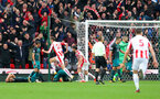 STOKE ON TRENT, ENGLAND - SEPTEMBER 30: Peter Crouch puts Stoke 2-1 up during the Premier League match between Stoke City and Southampton at the Bet365 Stadium on September 30, 2017 in Stoke on Trent, England. (Photo by Matt Watson/Southampton FC via Getty Images)