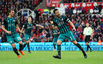 STOKE ON TRENT, ENGLAND - SEPTEMBER 30: Southampton's Maya Yoshida celebrates after equalising during the Premier League match between Stoke City and Southampton at the Bet365 Stadium on September 30, 2017 in Stoke on Trent, England. (Photo by Matt Watson/Southampton FC via Getty Images)