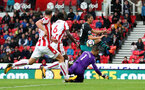 STOKE ON TRENT, ENGLAND - SEPTEMBER 30: Southampton's Manolo Gabbiadini is denied by Stoke goalkeeper Jack Butland during the Premier League match between Stoke City and Southampton at the Bet365 Stadium on September 30, 2017 in Stoke on Trent, England. (Photo by Matt Watson/Southampton FC via Getty Images)