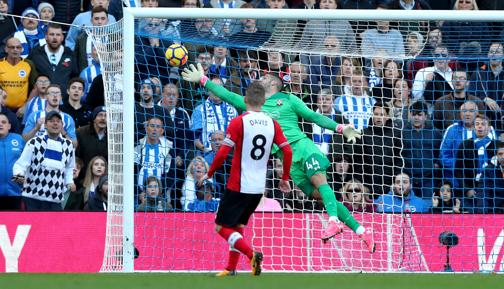 BRIGHTON, ENGLAND - OCTOBER 29: Southampton keeper Fraser Forster is beaten by the header of Glenn Murray during the Premier League match between Brighton and Hove Albion and Southampton at the Amex Stadium on October 28, 2017 in Brighton, England. (Photo by Matt Watson/Southampton FC via Getty Images)