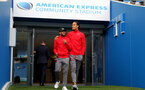 BRIGHTON, ENGLAND - OCTOBER 29: Southampton's Nathan Redmond(left) and Virgil Van Dijk ahead of the Premier League match between Brighton and Hove Albion and Southampton at the Amex Stadium on October 29, 2017 in Brighton, England. (Photo by Matt Watson/Southampton FC via Getty Images)