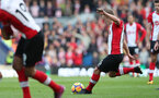 BRIGHTON, ENGLAND - OCTOBER 29: Southampton's James Ward-Prowse shoots from a free-kick which leads to Steven Davis' goal during the Premier League match between Brighton and Hove Albion and Southampton at the Amex Stadium on October 29, 2017 in Brighton, England. (Photo by Matt Watson/Southampton FC via Getty Images)