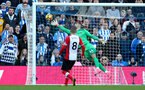 BRIGHTON, ENGLAND - OCTOBER 29: Southampton keeper Fraser Forster is beaten by the header of Glenn Murray during the Premier League match between Brighton and Hove Albion and Southampton at the Amex Stadium on October 29, 2017 in Brighton, England. (Photo by Matt Watson/Southampton FC via Getty Images)