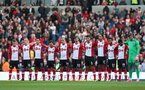 BRIGHTON, ENGLAND - OCTOBER 29: Southampton players observe a minute's silence during the Premier League match between Brighton and Hove Albion and Southampton at the Amex Stadium on October 29, 2017 in Brighton, England. (Photo by Matt Watson/Southampton FC via Getty Images)