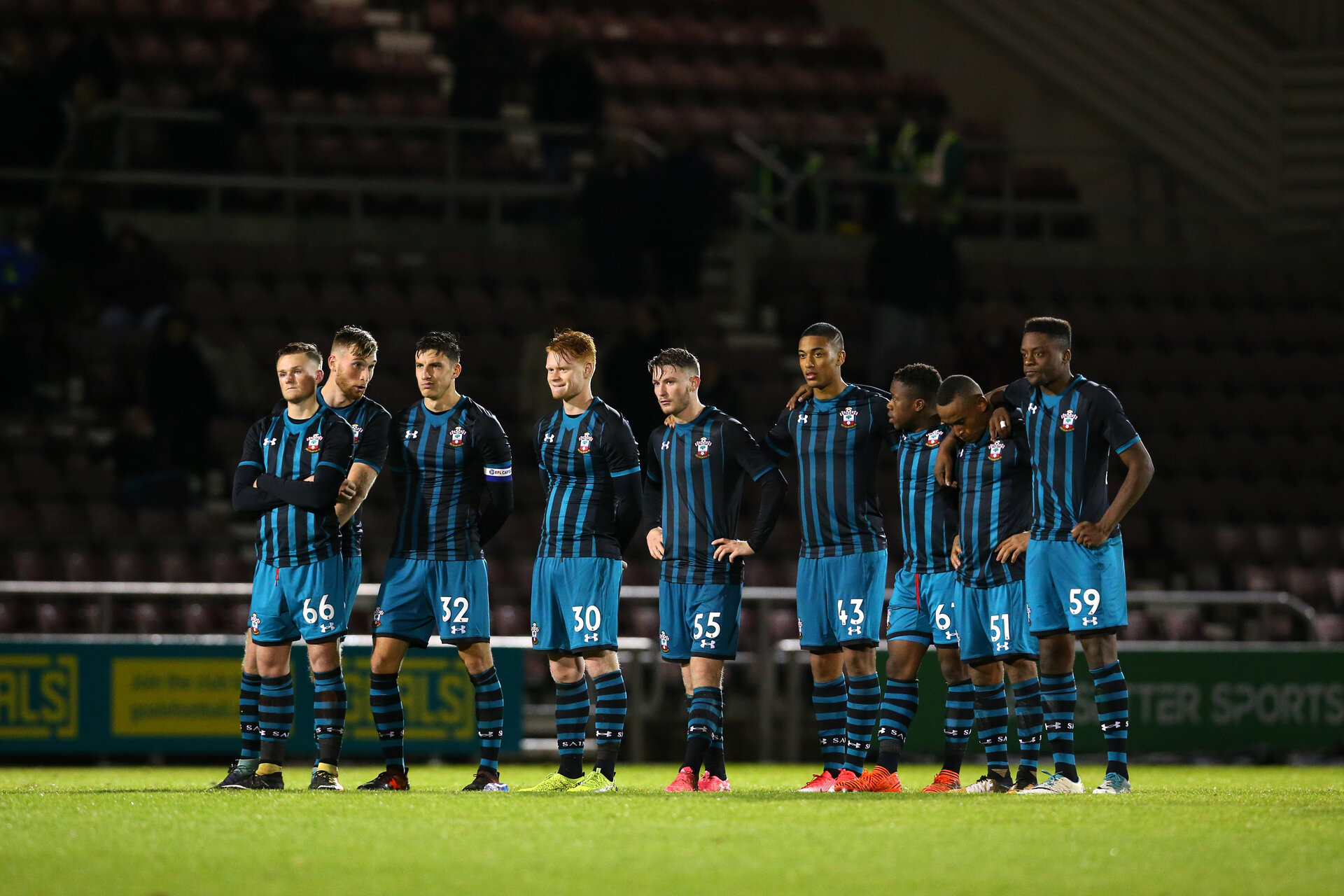 NORTHAMPTON, ENGLAND - NOVEMBER 07: Southampton await the result from penalty shoot out during the match at Sixfields Stadium for the Checkatrade Trophy match between Southampton FC and Northampton Town on November 7, 2017 in Northampton, England. (Photo by James Bridle - Southampton FC/Southampton FC via Getty Images)