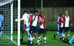SOUTHAMPTON, ENGLAND - DECEMBER 11: Marcus Barnes of Southampton FC (Left) celebrates with Harlem Hale (right) after scoring from a header during the Premier League 2 between Southampton FC and Wolverhampton FC U23's match at Staplewood Complex on December 11, 2017 in Southampton, England. (Photo by James Bridle - Southampton FC/Southampton FC via Getty Images)