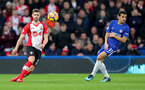 LONDON, ENGLAND - DECEMBER 16: Jack Stephens(L) of Southampton and Pedro during the Premier League match between Chelsea and Southampton at Stamford Bridge on December 16, 2017 in London, England. (Photo by Matt Watson/Southampton FC via Getty Images)