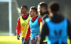 SOUTHAMPTON, ENGLAND - DECEMBER 19: Mario Lemina (left) during a Southampton FC training session at Staplewood Complex on December 19, 2017 in Southampton, England. (Photo by James Bridle - Southampton FC/Southampton FC via Getty Images)