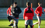 SOUTHAMPTON, ENGLAND - DECEMBER 28: Pierre-Emile Højbjerg (left) during a Southampton FC training session at Staplewood Complex on December 28, 2017 in Southampton, England. (Photo by James Bridle - Southampton FC/Southampton FC via Getty Images)