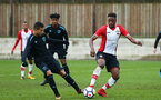 SOUTHAMPTON, ENGLAND - JANUARY 06:  Jonathan Afolabi (right) during the PL2 match between Southampton FC and West Ham United FC at Staplewood Complex on January 6, 2018 in Southampton, England. (Photo by James Bridle - Southampton FC/Southampton FC via Getty Images)